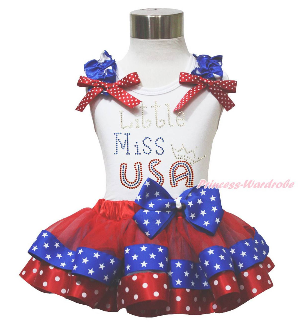 ФОТО White Top 4th July LITTLE MISS USA Patriotic Star Dot Satin Trim Skirt Set NB-8Y MAPSA0682
