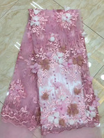 3D Applique Flower French Lace Fabric Pink Color Flowers 2019 Embroidery Net Lace With Handwork Beads African Lace Fabrics
