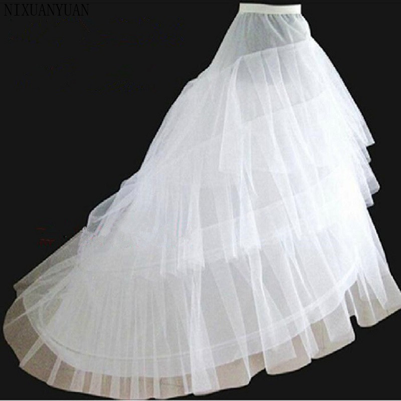 NIXUANYUAN Free Shipping High Quality White Petticoat Train Crinoline Underskirt 3-Layers For Wedding Dresses Bridal Gowns 2020