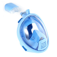 SMACO Pink/Blue Swimming Diving Snorkeling Full Face Mask Surface Scuba for Gopro Anti Fog Dry submersible mask (Child type)
