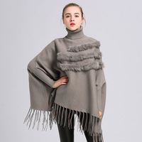 2018 new fashion thick lady autumn poncho high collar with natural rabbit fur and tassels sleeve winter outwear cape and shawls
