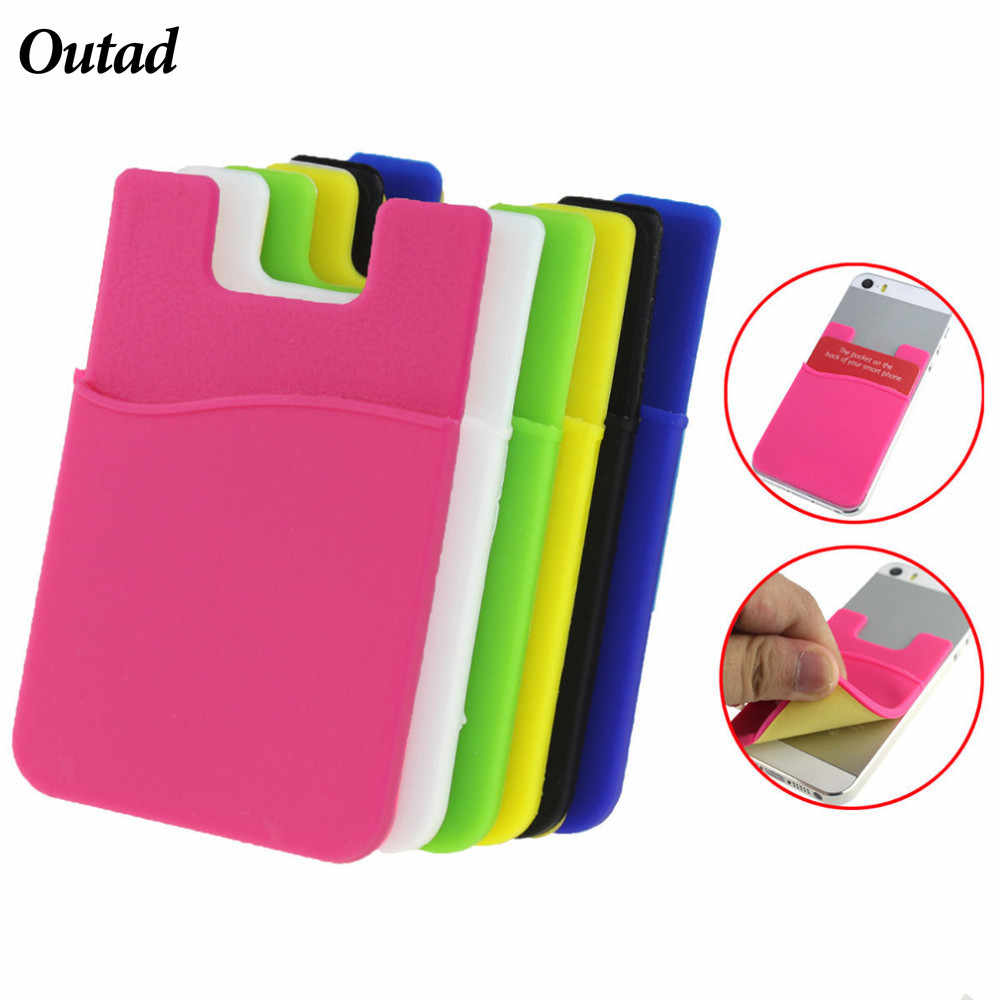 Candy Color Card Holder Adhesive Sticker Back Cover Card Holder Case Pouch For Cell Phone