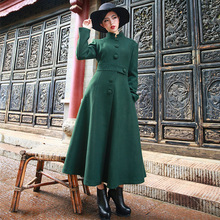 Palace Wind 2016 Winter Fashion Solid Color Women's Outwear Slim Waist Single Breasted Wool Jacket Coat Stand Collar Overcoat