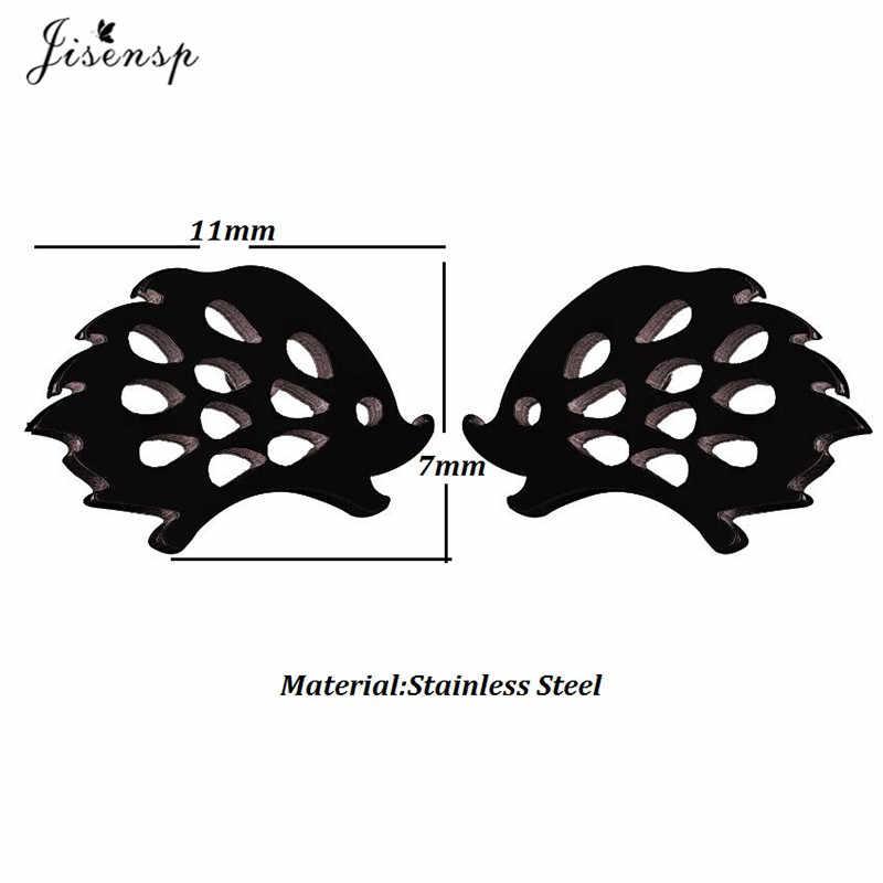 Jisensp Indah Landak Stud Anting-Anting untuk Gadis Lucu Fashion Hewan Telinga Anting-Anting Perhiasan Stainless Steel Hitam Anting Brincos