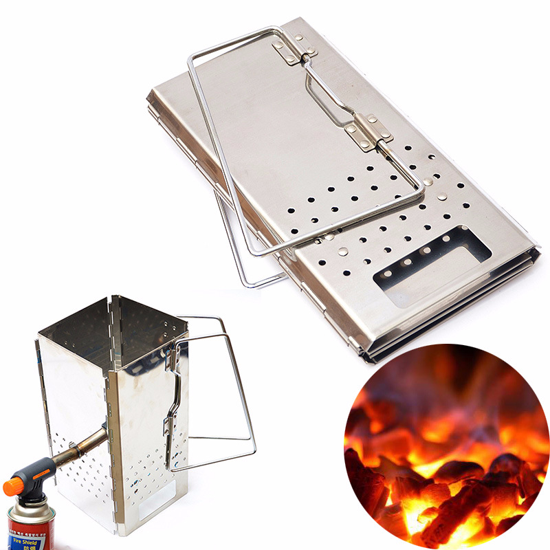 Démarreur de cheminée pliable | Démarreur Portable en acier inoxydable pour barbecue en plein air