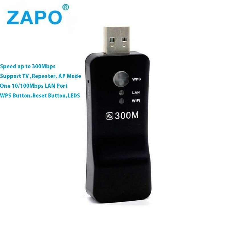 ZAPO 300 Mbps adaptador de red de TV inalámbrico/WiFi extensor de rango puente amplificador de señal repetidores wi fi para Samsung Sony LG TV
