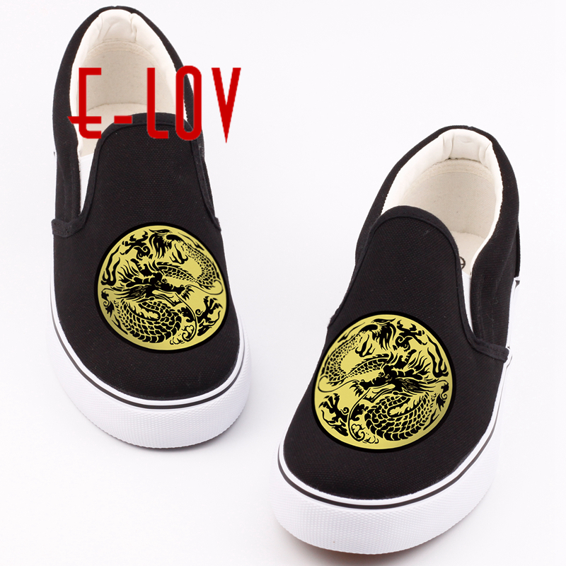E-LOV Vintage Style Printed Chinese Zodiac Dragons Canvas Shoes Low Top Casual Slip-on Shoes Loafers Design For Couples робот zodiac ov3400