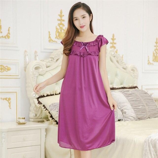 9cdc1e88a Women summer silk satin lace Bow tie Long Nightgowns shorts sleeve  Sleepwear sexy night dress Nightdress nightwear Robe homewear