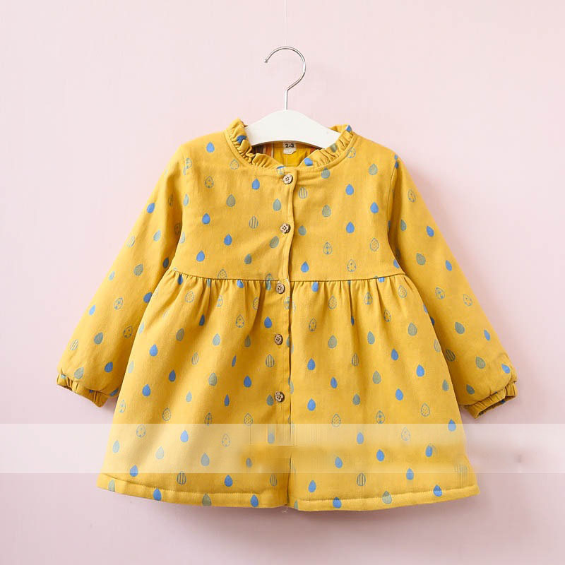 Everweekend Girls Raindrop Ruffles Dress Cute Baby Pink Yellow and Green Color Clothes Princess Button Autumn Winter Clothing бра raindrop a3168ap 1ab