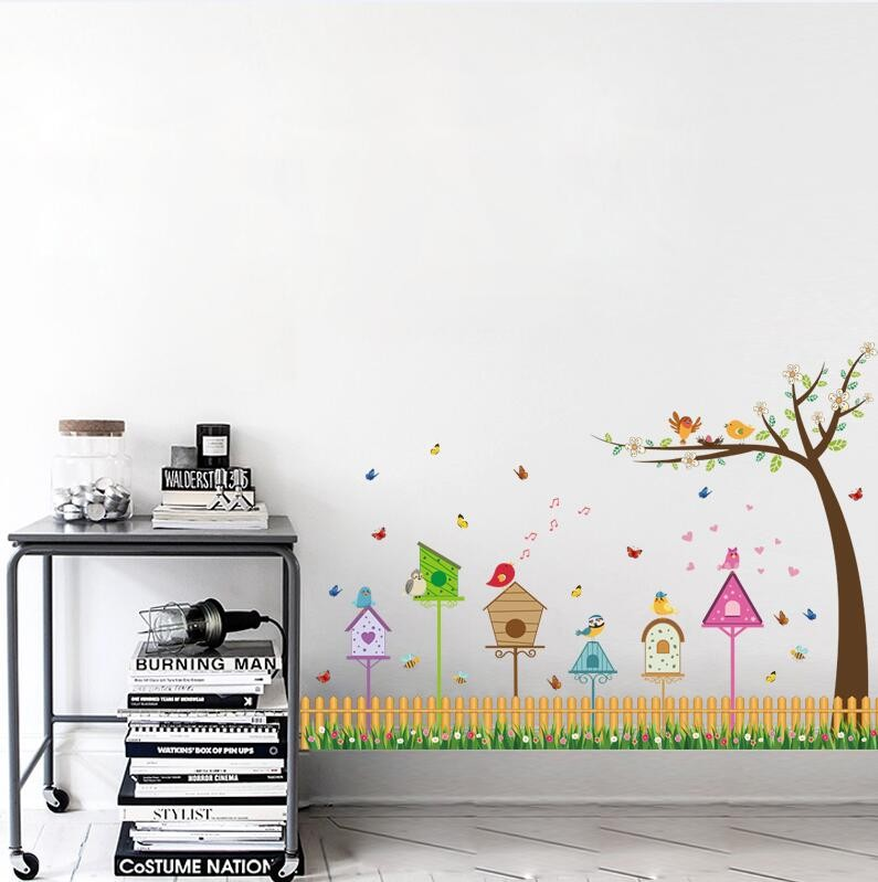 4 82 17 De Reduction Sk9085 Dessin Anime Oiseau Nid Maison Arbre Branche Chambre Sticker Mural Chambre Maternelle Dessin Anime Enfants Chambre