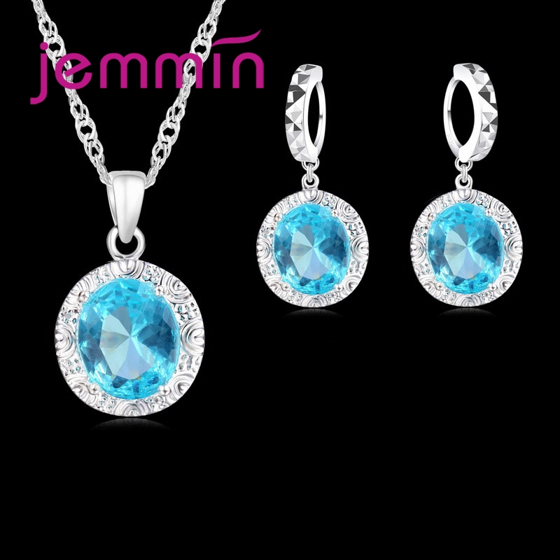 New Fashion Round Shape Blue Zircon Jewelry Sets For Women 100% 925 Sterling Silver Clear CZ Pendant Earrings Necklace