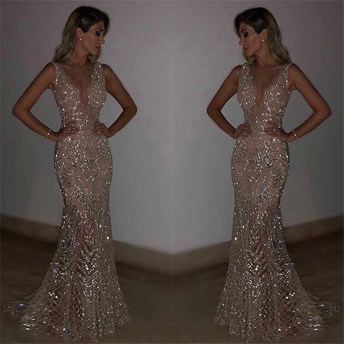 b48d22e714 Sequin Dress Gold Grey Summer Woman 2019 V-Neck Sleeveless Strap Long Dress  Women Maxi