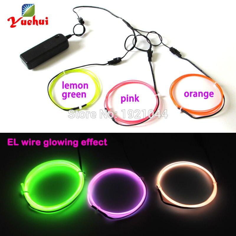 3V 3Meters lemon green/orange/pink color 1.3mm EL wire Flexible Neon Glow Light EL Cable Rope for Car Party Decorations Light