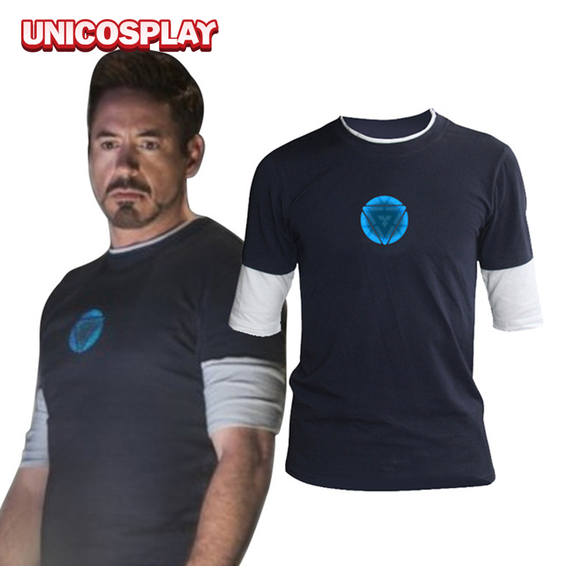 Iron man 3 tony stark navy blue t shirt night luminous mid for Iron man shirt for men