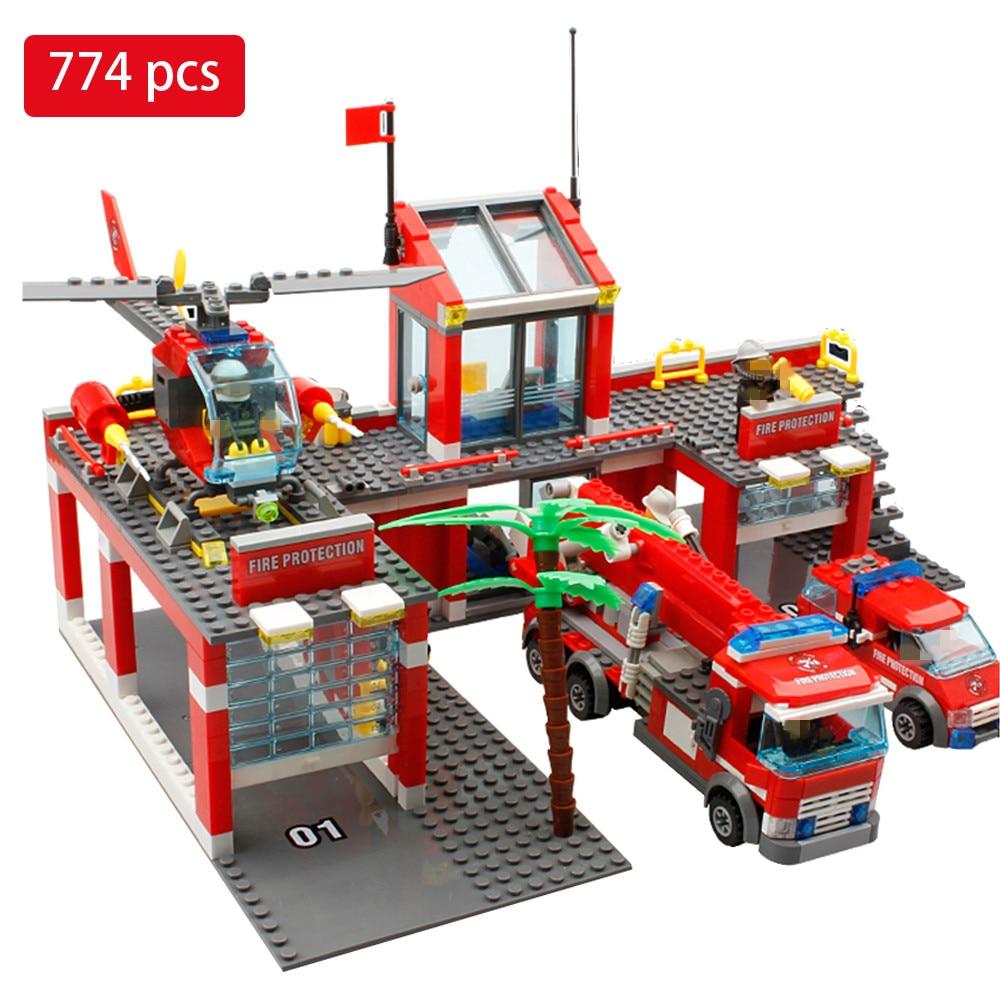 Galleria fotografica 774 pz Fire Station Building Blocks Compatibile con <font><b>Legoed</b></font> Città Edilizia Vigile Del Fuoco Mattoni Giocattoli Educativi Per I Bambini