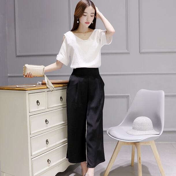 371d0696b0c BornToGirl Women Clothing Sets Summer Cotton Linen 2 Piece Suit Set Top + Pant  Women Hollow ...