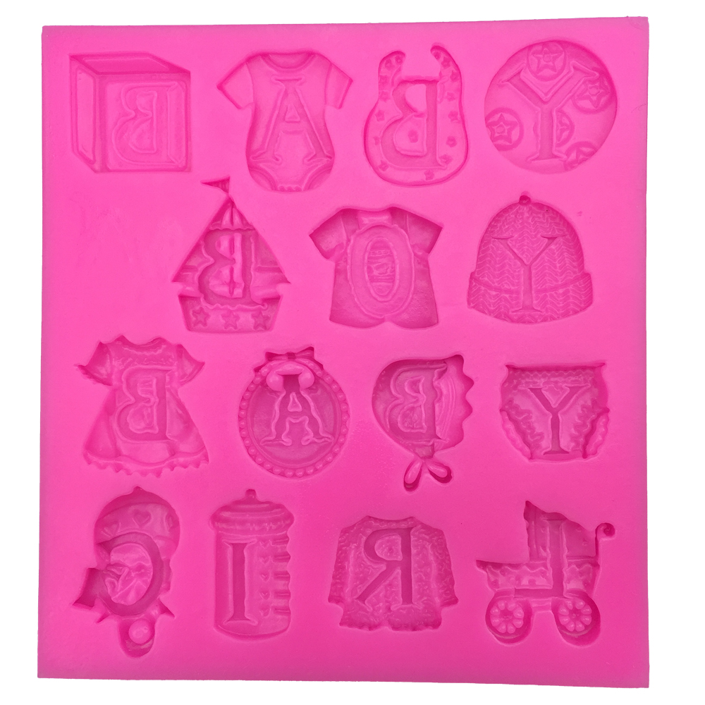 Lovely Baby Clothes Silicone Fondant Molds Cupcakes Chocolate Candy Pastry S^