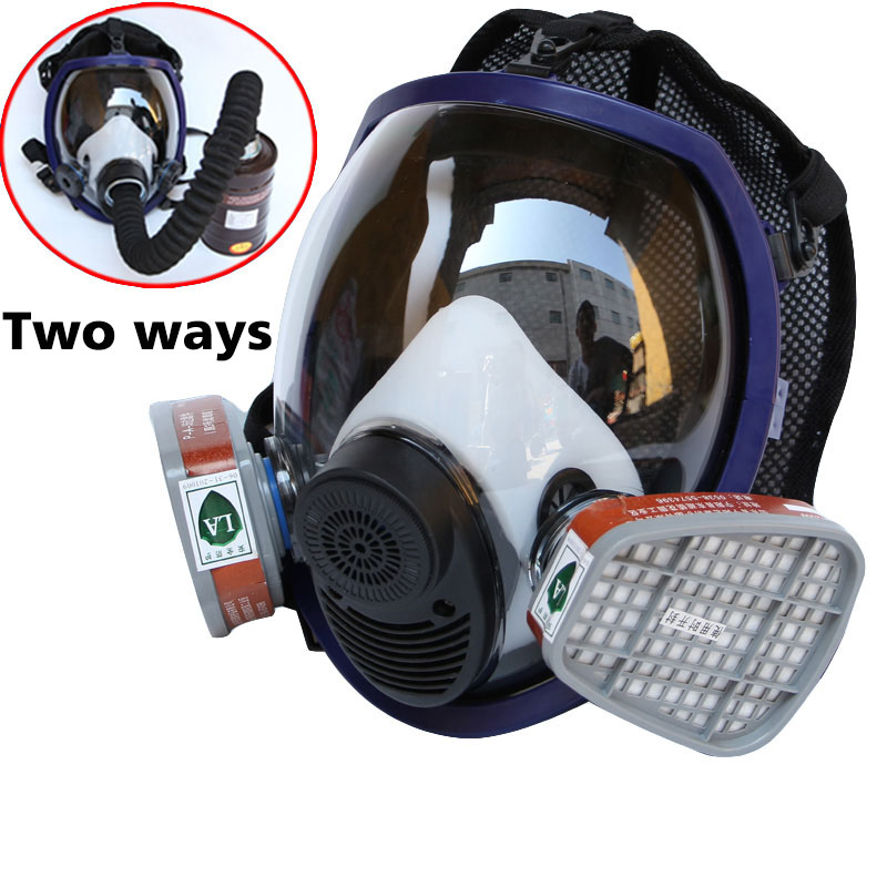 Gas masks Full Face Respirator Gas Mask Breather 2 in 1 Function 6800 Silicone Mask for Industry Painting Spraying Anti-dust 11 in 1 suit 3m 6200 half face mask with 2091 industry paint spray work respirator mask anti dust respirator fliters