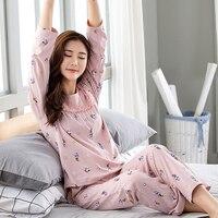 girl pink women sleepwear M 4XL long sleeve cotton plus size women's Pregnant woman lounge xxxl 4x Pajama Sets spring and autumn