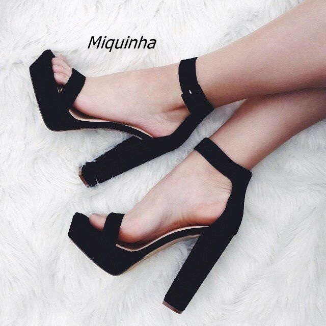 Chic Black Buckle Style Block Heel Platform Sandals Pretty Black Suede Open  Toe Chunky Heel Dress Shoes Concise Style Sandals 5584c834614b