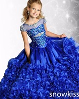Charming Blue Pink Sparkly Beaded Crystals Sheer Neck Pageant Dresses For Girls Glitz Gorgeous Party Lace