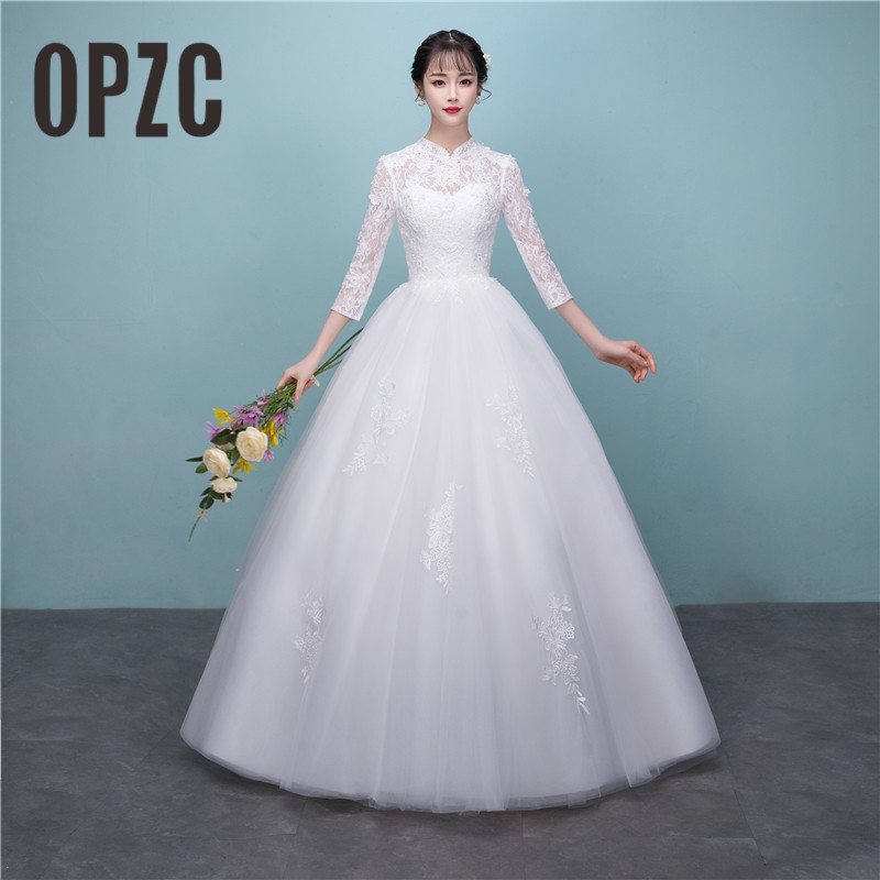 New Arrival Korean Style Vestido De noiva 2018 Custom Made Size Simple Lace Wedding Dress Stand