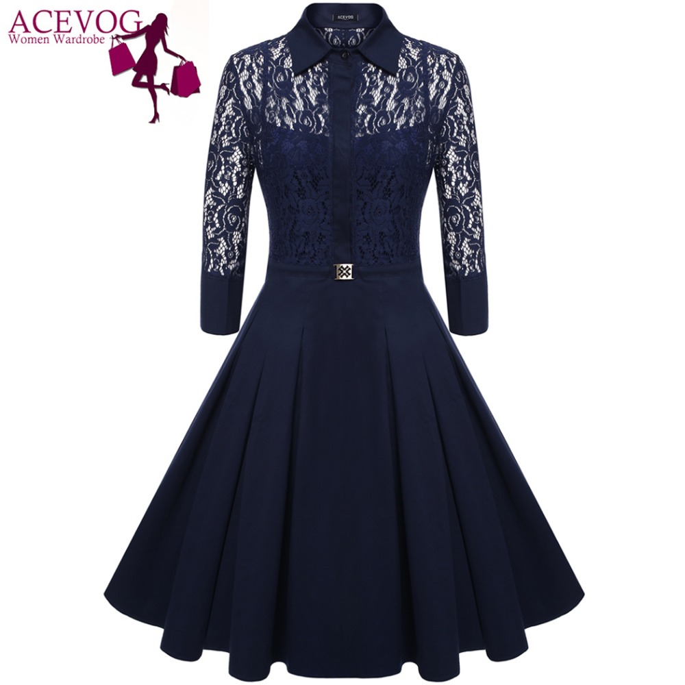 ACEVOG Brand 2018 Women Vintage Pleated Dress Autumn Retro Style Sexy Pattern Slim Casual Party Swing Lace Dress 2 Pieces Dress