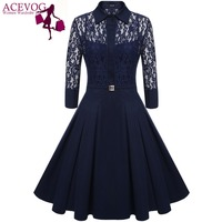 ACEVOG Brand 2016 Women Vintage Pleated Dress Summer Retro Style Sexy Pattern Slim Casual Party Swing