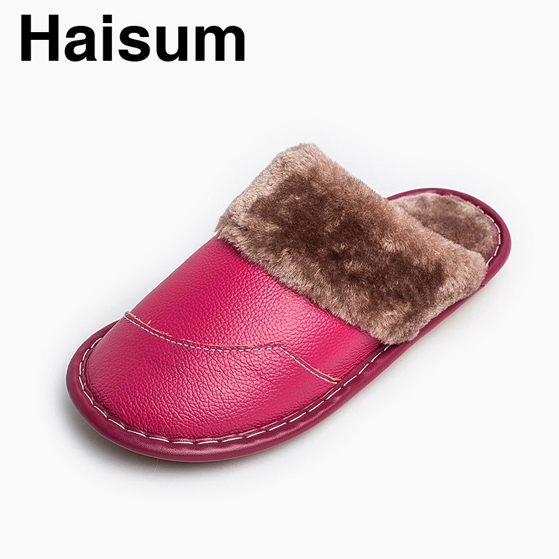 Ladies Slippers Winter genuine Leather Thick With Plush Home Indoor Non-slip Thermal Slippers 2018 New Hot Sale Haisum H-8832 men s slippers winter pu leather home indoor non slip thermal slippers 2018 new hot haisum h 8007