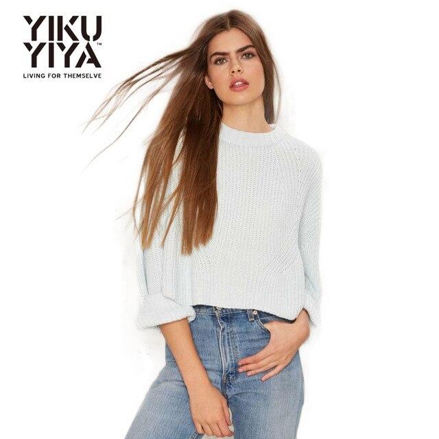 YIKUYIYA 2017 Autumn Women Sweater Female Sky Blue Long Sleeve No ...