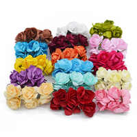144PCS 3cm Multicolor Artificial Paper Flower For Wedding Party Decoration Flower Arranging Artificial Flowers Bouquet of Flower