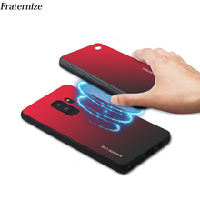 font b Slim b font Gradient Tempered glass Magnetic Wireless charger Case For Samsung Galaxy