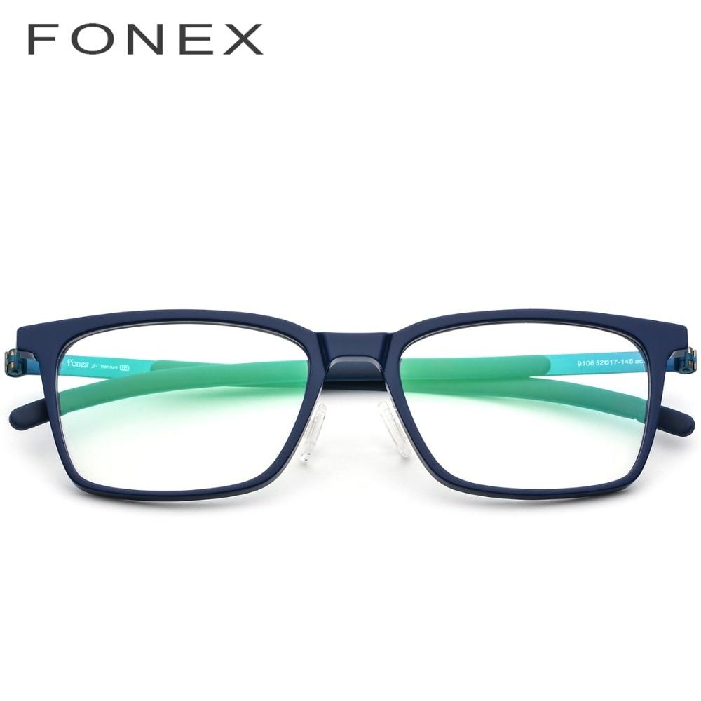 Acétate B titane lunettes cadre hommes haute qualité carré myopie cadres optiques Prescription lunettes sans vis lunettes 9106