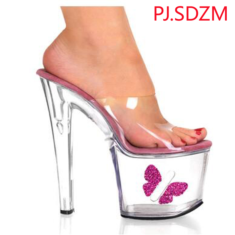 ФОТО PJ.SDZM New Star Fashion Butterfly Crystal Sandals 15cm Super High-heeled Slippers Women Sexy Wedding Shoes Platforms Slippers