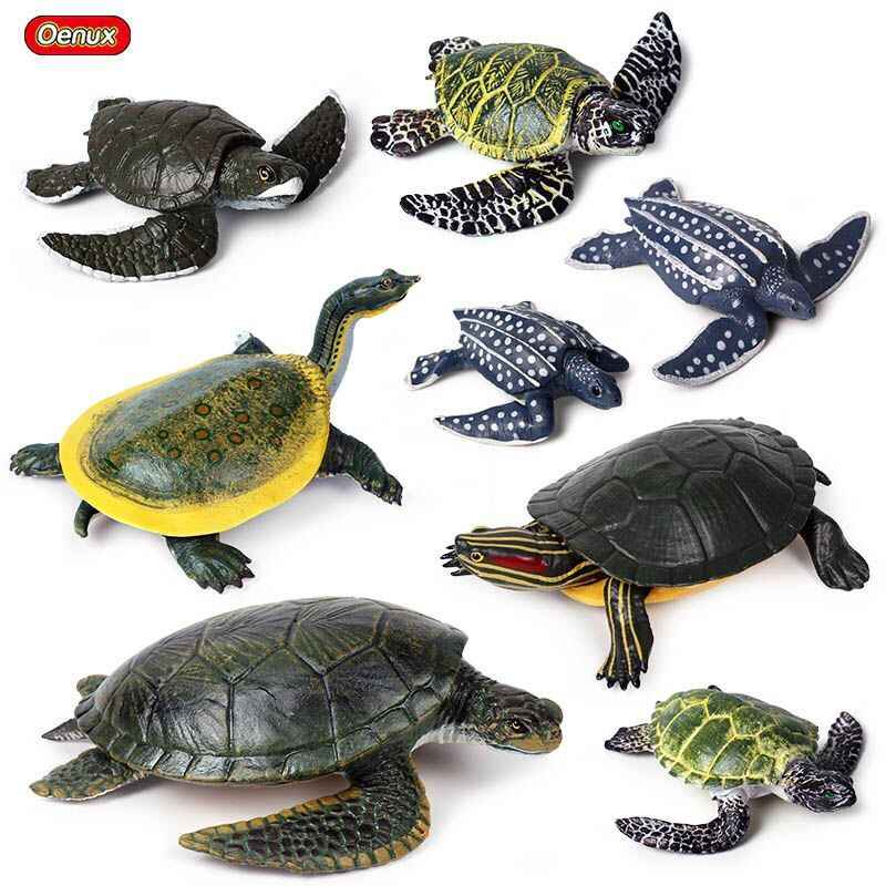 Oenux Ocean Animals Simulation Sea Life Leatherback Turtle Tortoise Model Figurines Action Figures High Quality Education Toy