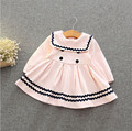 Varejo! new england estilo do bebê girls dress party dress roupas de bebê cheio de bordado do bebê rosa branco frete grátis