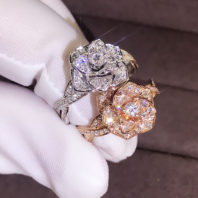 Fashion Elegant Women Dazzling Flower Ring CZ Zircon Anniversary Ring High Quality Delicated Crystal Wedding Engagement Rings(China)