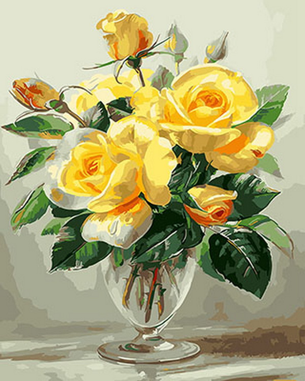 Frameless picture oil painting by numbers wall decor diy painting on canvas for home decor 4050 yellow rose