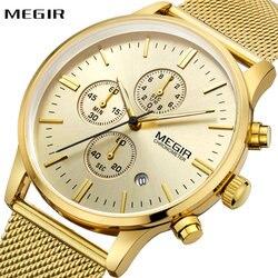 MEGIR Watches for Men Top Brand Luxury Ultra Thin Golden Strap 3 Working Sub-dials 6 Hands Luminous Dial Waterproof Wristwatch