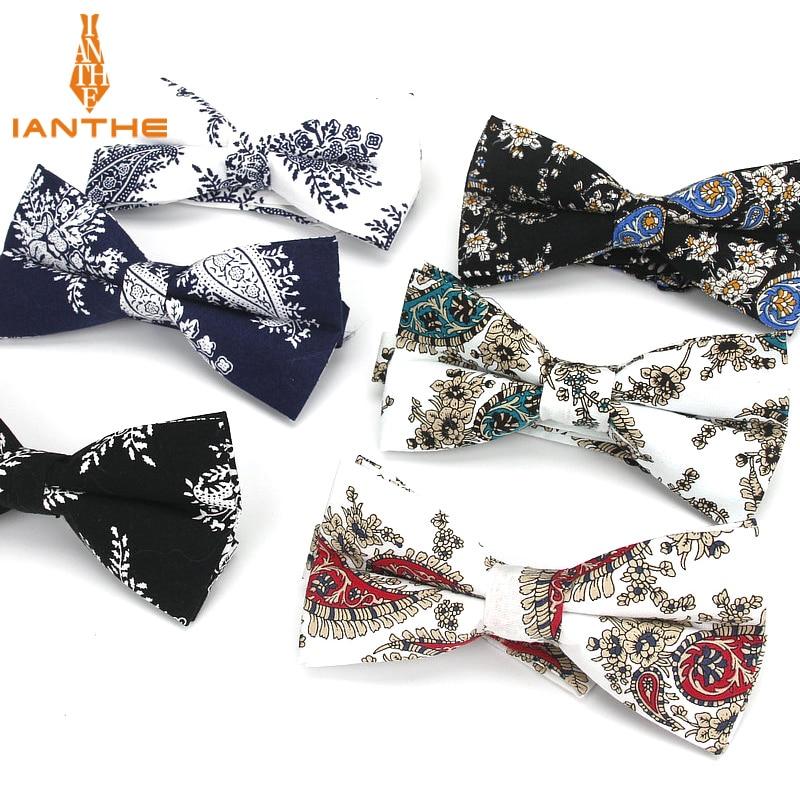Mens Bow Tie Flexible Bowtie Smooth Necktie Soft 100%Cotton Butterfly Decorative Pattern Paisley Paisley Print Neck Ties Cravata