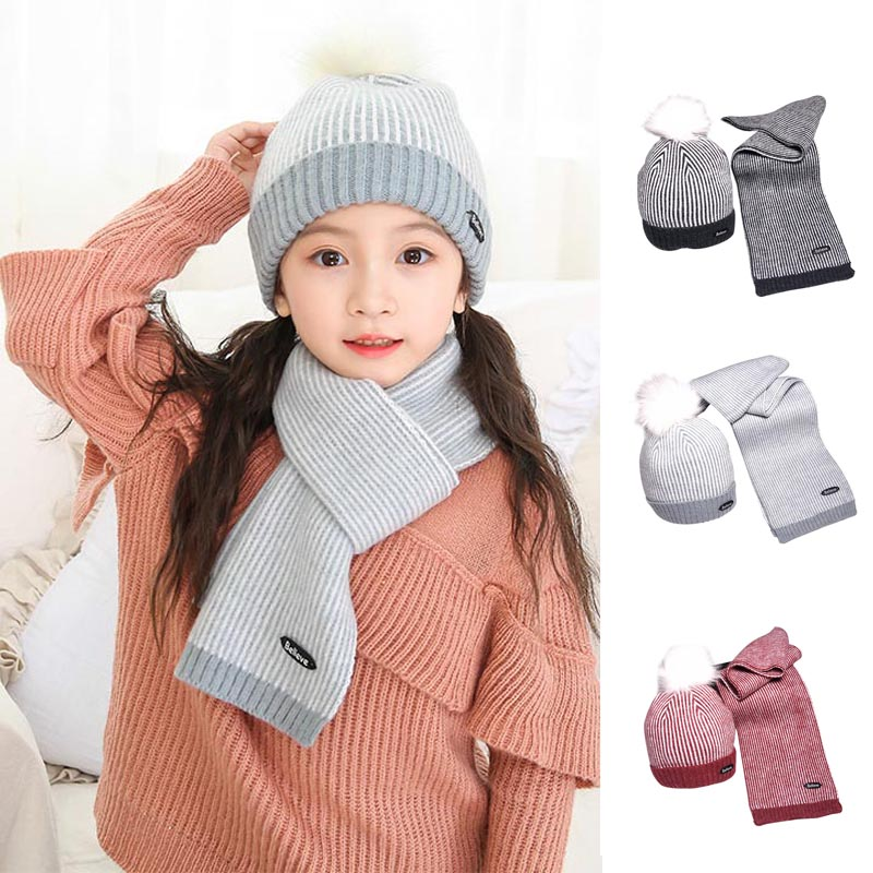 Children Kids Hat Cap Scarf Set Keep Warm Fashion Stripe Breathable For Winter FC55