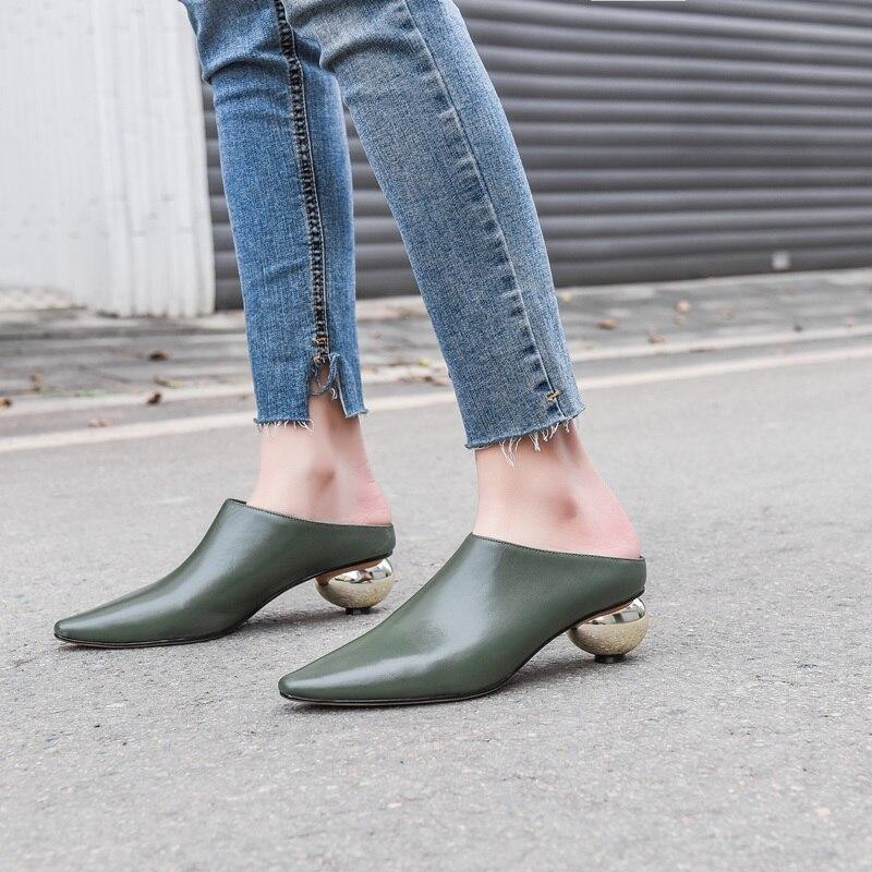 Zvq Nuovo Med Strano Stile Primavera Decorazione Alta Donna Metallo Black Donne Modo Delle Cuoio Al In Fuori Qualità Scarpe Del Di Genuino Pantofola green Y67gbfy