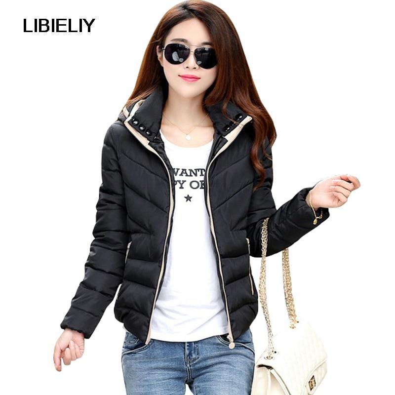 Nice New   Basic     Jacket   Women Autumn Winter Short Coats Solid Hooded Down Cotton Padded Slim Warm Pockets Female   Jacket   Coats