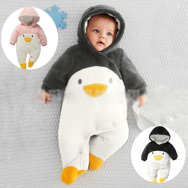 Nueva 2016 otoño invierno bebé de los mamelucos recién nacidos ropa del bebé bebes pingüino de la historieta gruesa de algodón monos monos infantiles