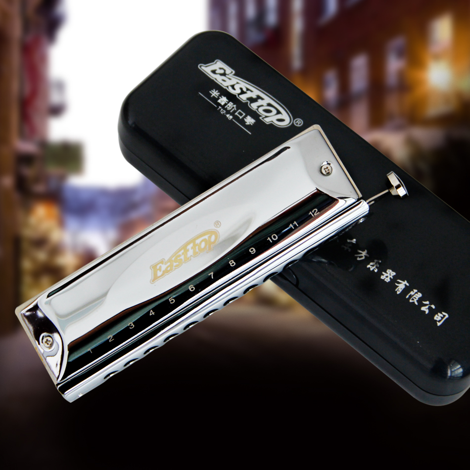 Easttop Dreamer T12-48 Perak Warna C Key 12 Lubang Chromatic Harmonica dengan Phosphor Imported Reed Bronze dan Resin Comb