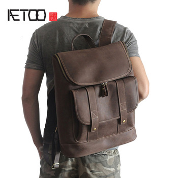 AETOO Europe and the United States retro leather shoulder bag crazy horse skin men and women  leisure travel bag 15-inch