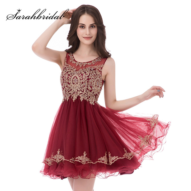 Cheap In Stock Little Burgundy Cocktail Dresses Short Prom Wear ...