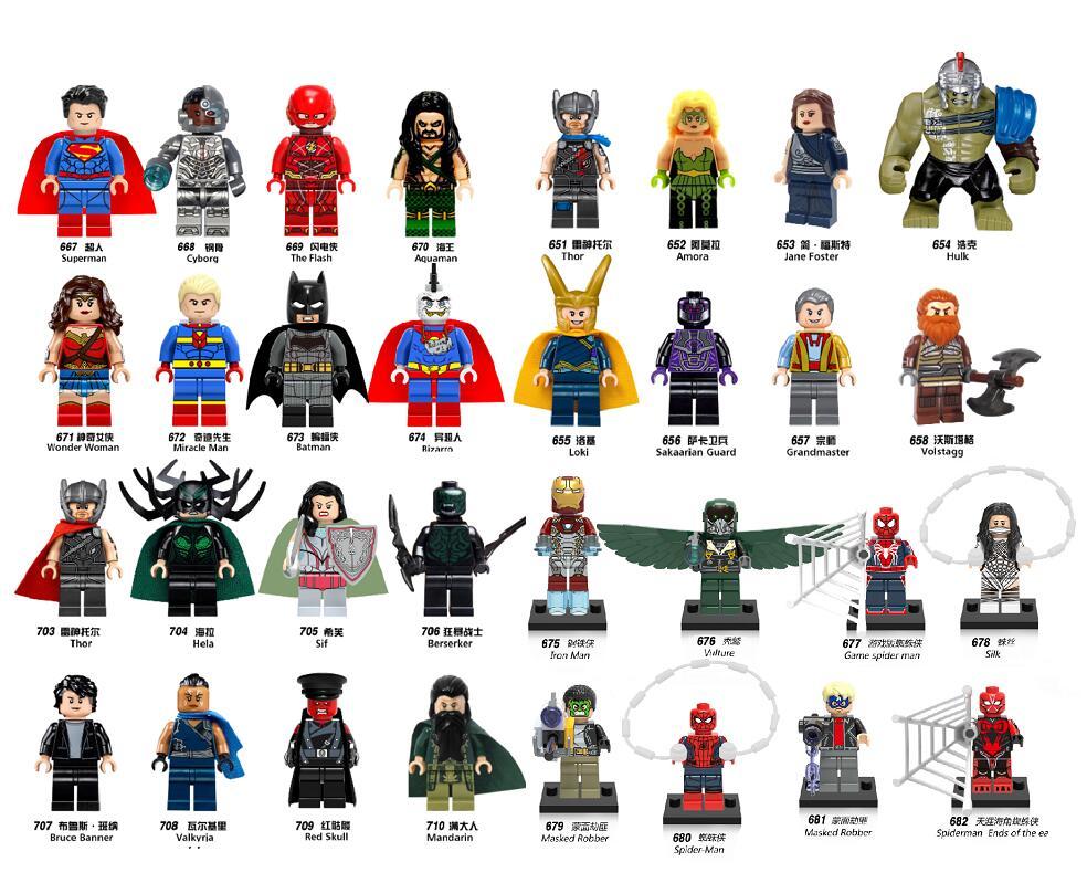 Single Sale Super Heroes Loki Valkyrja Red Skull Superman Miracle Man Aquaman Grandmaster Spider-Man Building Blocks Kids Toys