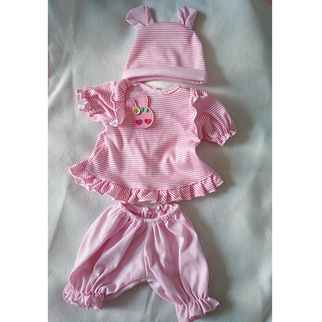 Pink Stripped 17 Inch Reborn Doll Clothes Three-Piece Suit Fit For 43-45 CM Newborn Babies Kids Birthday Xmas Gift