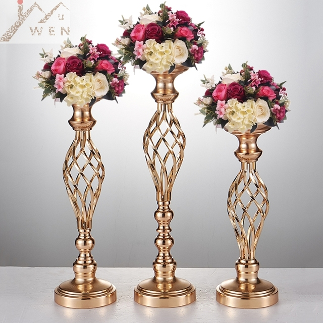 10pcs Gold Flower Vases Candle Holders Stand Wedding Decor Road Lead